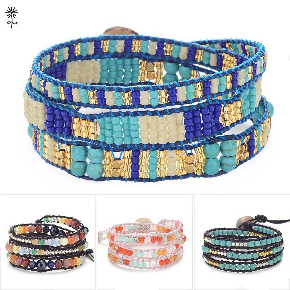 10pcs/lot Handmade Graduated Stone with Gold beads Wrap Bracelets Leather Boho Bracelet with Stones Wholesale Leather Jewelry цена 2017