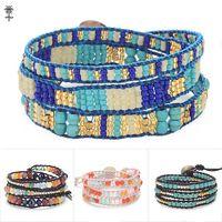 10pcs/lot Handmade Graduated Stone with Gold beads Wrap Bracelets Leather Boho Bracelet with Stones Wholesale Leather Jewelry