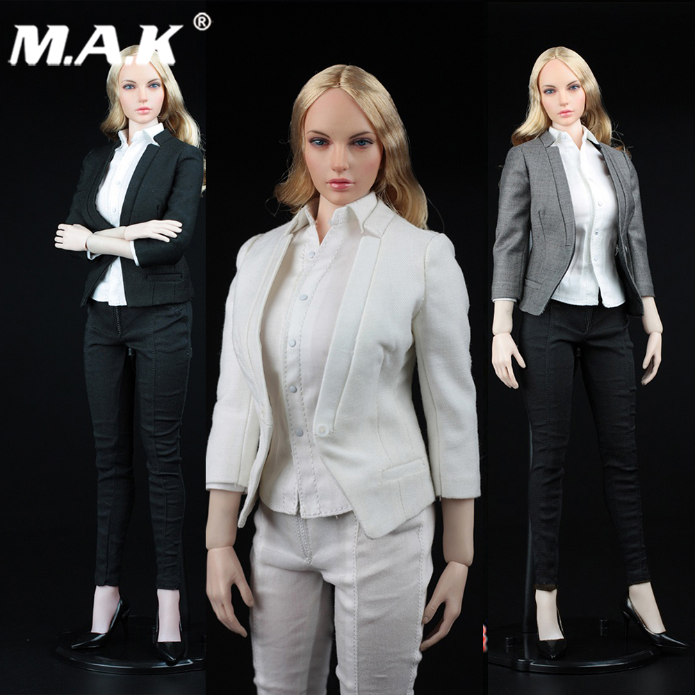 Здесь продается  white gray black 1/6 Seven point sleeve slim suit collar suit set Long Pants Suits Slim short suit set For 12