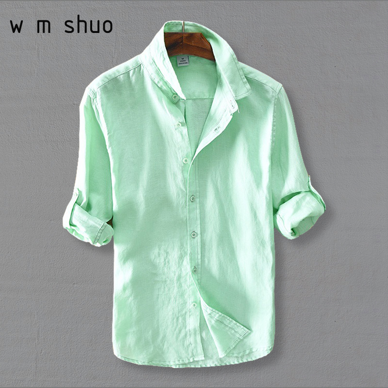 WMSHUO 2018 Mens Dress Shirts 100%Linen Casual Slim White Long Sleeve Brand Clothing Plus Size S-3XL Y286