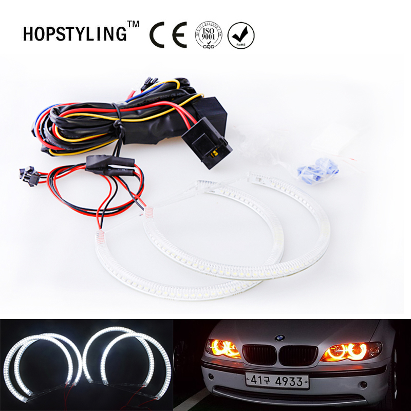 Car-styling Yellow SMD Angel Eyes Halo ring kits for BMW E46 Non Projector A+B (131mm+146mm) Headlight lamps No Error цена