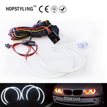 Car-styling Yellow SMD Angel Eyes Halo ring kits for BMW E46 Non Projector A+B (131mm+146mm) Headlight lamps No Error