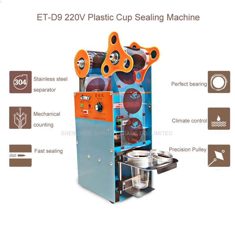 ET-D9 220V Plastic Cup Sealing Machine, Milk Tea Sealing Machine, Standard Cup Dia:7.0cm-9.5cm, With Counting Function free shipping guaranteed 220v electric standard cup dia 9 0 cm 9 5cm automatic plastic cup sealing machine for sale
