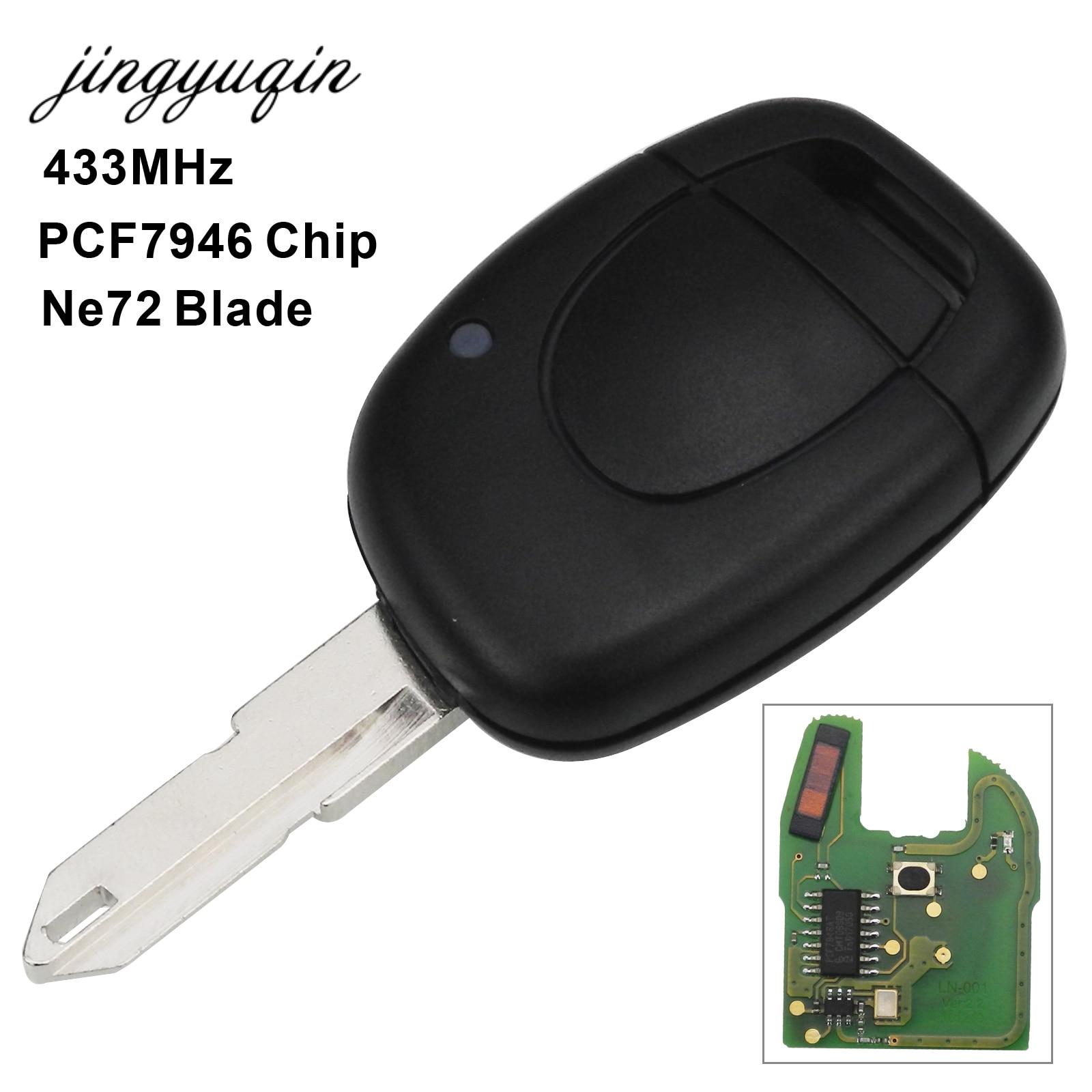 Jingyuqin Voiture À Distance Key Fit pour Renault Master Kangoo Clio Twingo NE72 Lame PCF7946 Puce 433 mhz