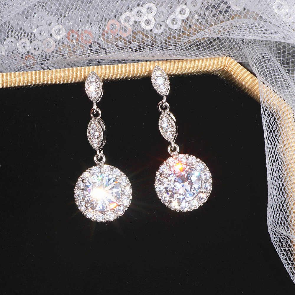 الفاخرة الإناث قطرة الماء أقراط موضة الفضة اللون الزركون حجر أقراط أنيقة طويلة استرخى أقراط النساء مجوهرات الزفاف