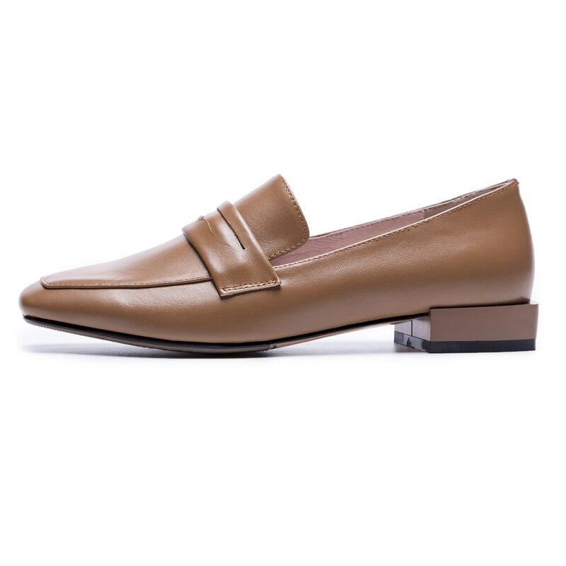 XiuNingYanโลฟเฟอร์เพนนีผู้หญิงหนังแกะแตะวัวหนังใบบนแฟลตพื้นฐานบวกขนาดใหญ่ขนาดรองเท้าที่ทำด้วยมือผู้หญิงO Xfords-ใน รองเท้าส้นเตี้ยสตรี จาก รองเท้า บน   2