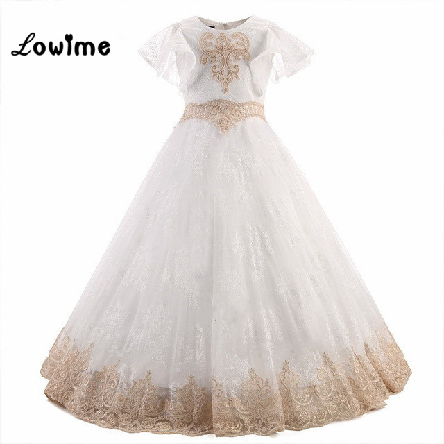 Flower     Girl     Dresses   Beautiful   Girls   Pageant   Dresses   With Short Sleeves Lace Applique Long Prom   Dresses   For Little   Girls