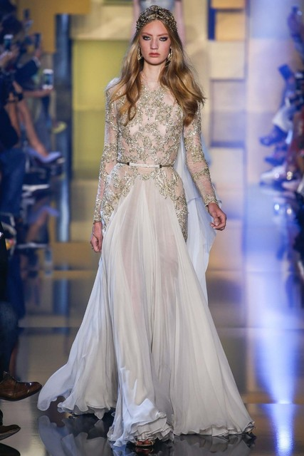 2016 Gold Lace Evening Dresses Sheer Beaded Long Sleeves Sash A Line  Chiffon Formal Gowns Custom 708119bc54ef