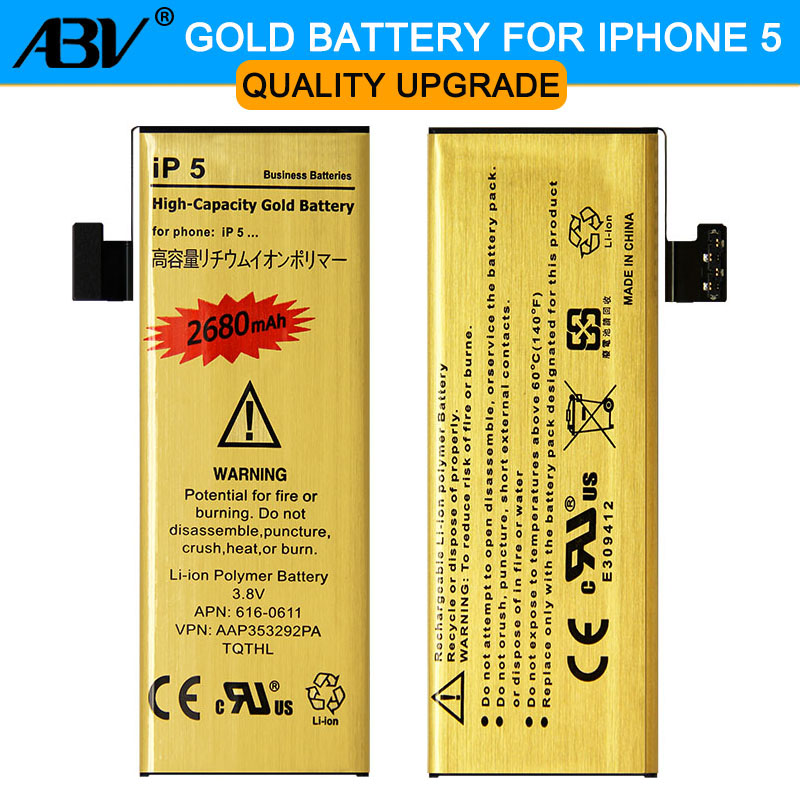 Original ABV Good Quality bateria ip5G Golden Mobile Phone Battery for Apple iPhone 5 iphone5 5G Battery 2019 New