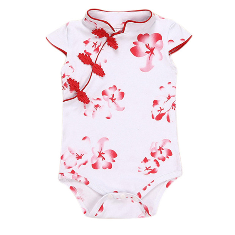 100% Cotton 2017 Baby Girls   Romper   Chinese Style Summer Cheongsam Soft Infant Classical Baby Clothing Newborn White Jumpsuit