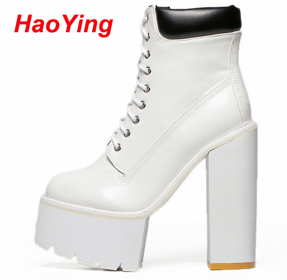 lace up boots women pumps winter autumn women boots short high heels motorcycle women ankle boots platform white punk boots D316 kibbu lace up high heels women punk style ankle boots thick bottom platform shoes european motorcycle leather boots 6 colors
