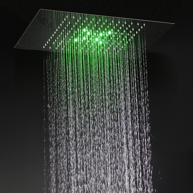 Shower Head Bathroom Accessories Concealed Large Rain Panel With Led Lights Quality 304