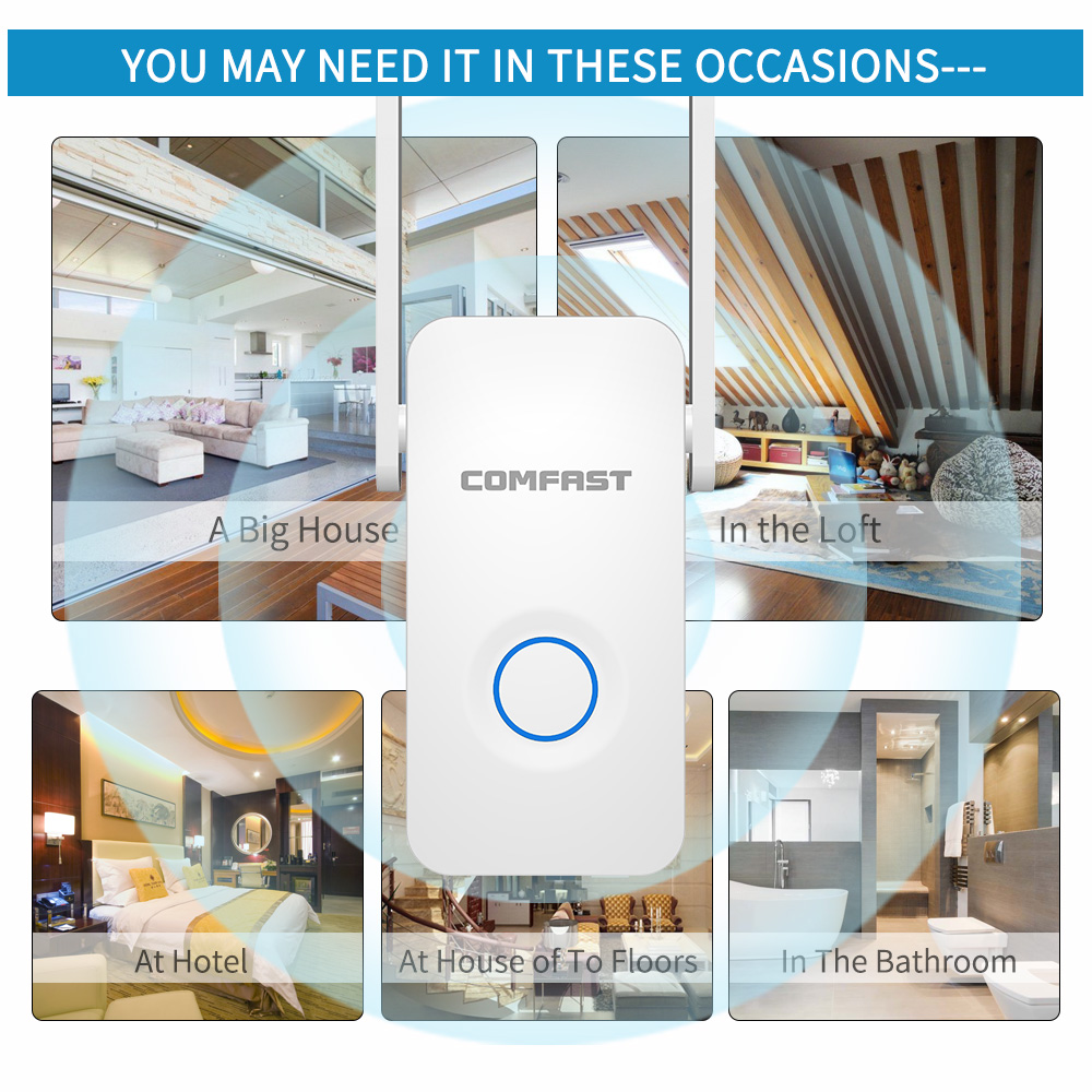 Image 2 - Powerful Dual Band 1200Mbps WiFi Extender Internet Signal Booster Wireless Repeater 2.4GHz 5GHz Wi Fi Range Extender Antenna