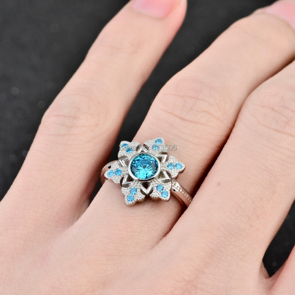GNJ0559 Genuine 925 Sterling Silver Jewelry Blue Snowflake Ring ...