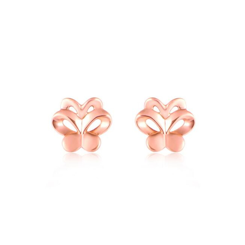 цены на 2018 Drop Shipping New Beautiful Fashion 18K Gold Earrings Fashion Jewelry Cute AU750 Butterfly Stud Earrings For Women 0.59G  в интернет-магазинах
