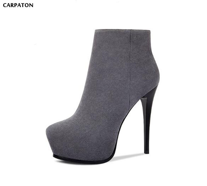 Carpaton 2018 New Flock Leather Style Fashion Side Zipper High Platform Thin High Heels Solid Short Boots Sexy Ladies Boots