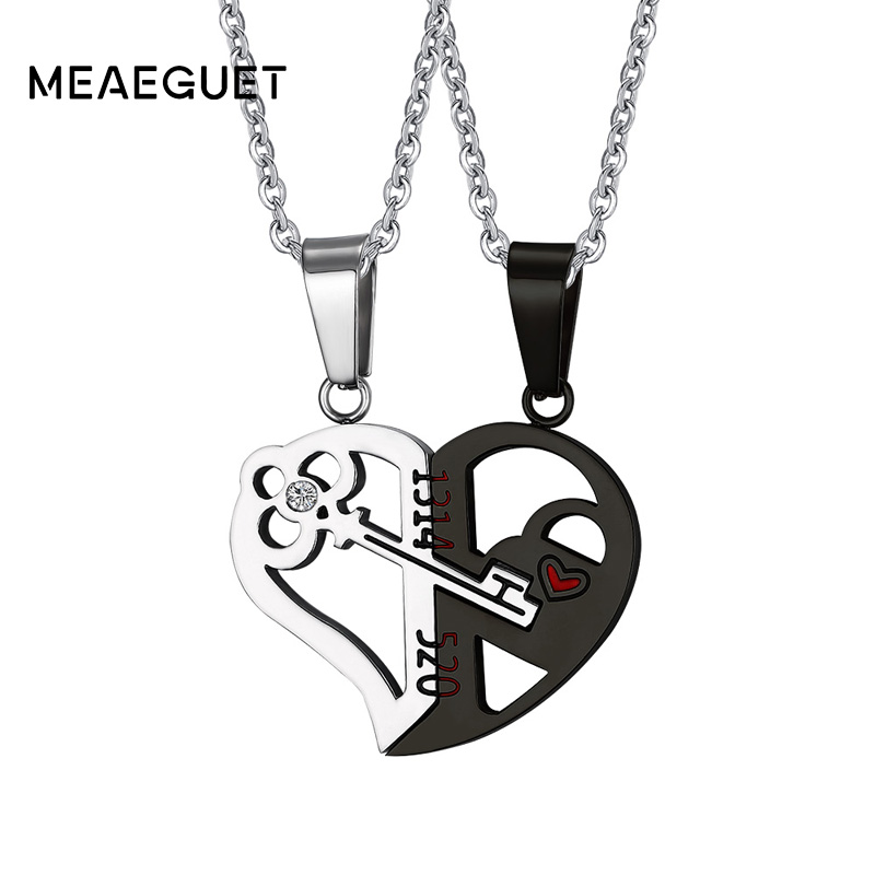 Silver Gold Crystal Heart Key Necklace Pendant Couple Love Forever Wedding Stainless Steel Men and Women Gifts Jewelry 24