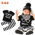 1-3Yrs Kids Suits Brand Fashion Children Clothing Sets 2016 Cotoon Baby Boys Suits Black T shirts + Stripe Long Pants 2pcs/lot