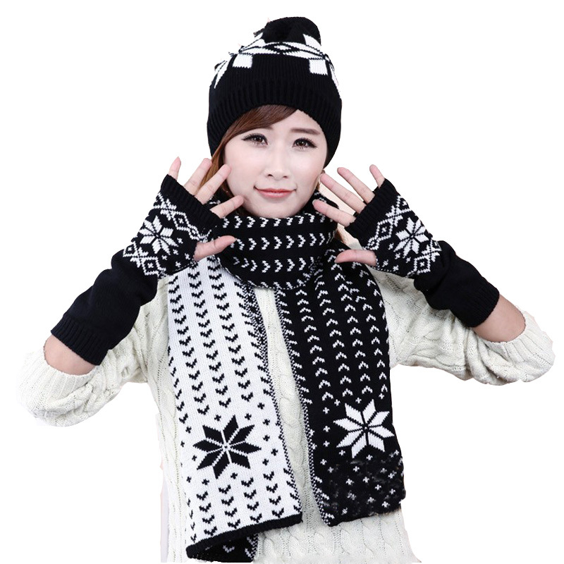 2016 Autumn and Winter New Women Snow Hats \\glove\\scarf ...
