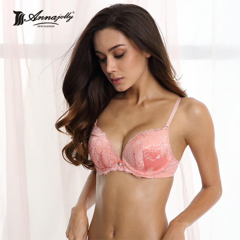 1a1fdc5765997 Annajolly Women Push Up Bras Top Sexy Embroidery Adjustable Bra Comfortable Pink  Underwear Lingerie Fashion Free Shipping 8569B