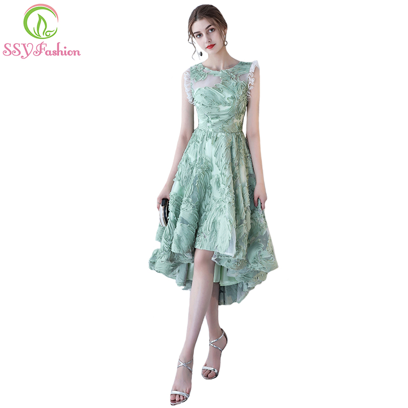 SSYFashion Summer New Fresh Green Short   Cocktail     Dress   Banquet High/low Short Front Long Back Lace Party Gown Formal   Dresses