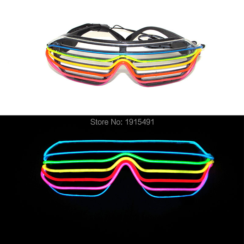 Beautiful 7 Color Mixed European Style Glowing EL wire Shutter Eyewear Energy Saving Led Sound Active Sunglasses for Halloween