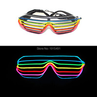 Beautiful 7 Color Mixed European Style Glowing EL Wire Shutter Eyewear Energy Saving Led Sound Active