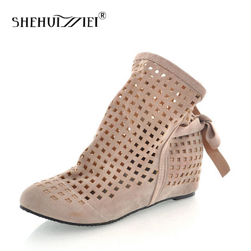 Shehuimei Big Size 34-43 Women's Summer Boots Flat Low Hidden Wedges Cutout Women Boots Ladies Dress Casual Shoes Cute Flock