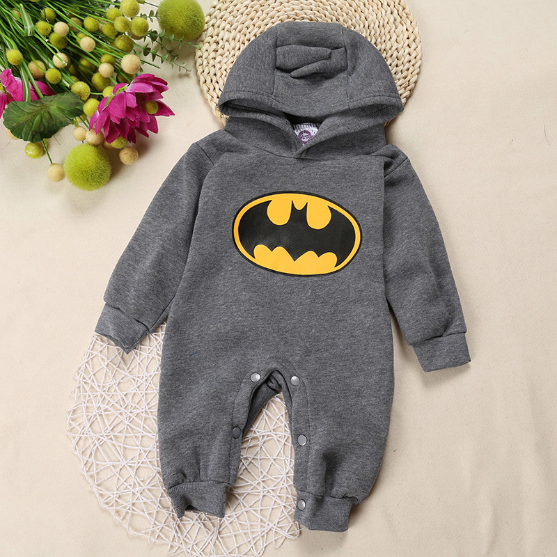 Newborn Baby Boys Girls Clothes Infantil Kids Hooded Batman Printing Long Sleeve Cotton Rompers Jumpsuit For Children Outfit