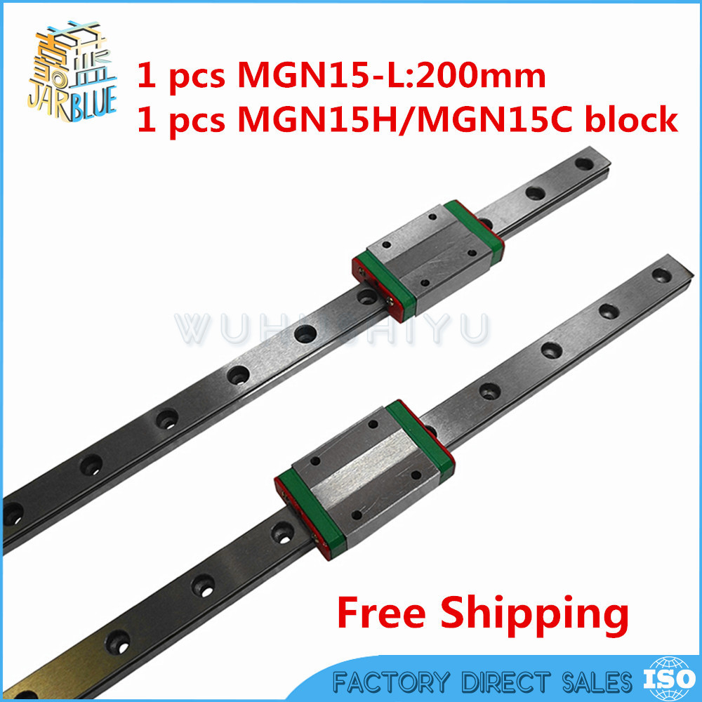 Free shipping 15mm Linear Guide MGN15 200mm linear rail way + MGN15H Long or MGN15C carriage for CNC parts free shipping fuyu brand 200mm stroke horizontal or vertical usage linear guide price for cnc machine