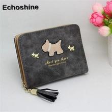 2016 hot saleWomen Short Purse Grind Arenaceous Leather Wallet Card Holder Handbag Bags dog pattern tassel zipper short wallet