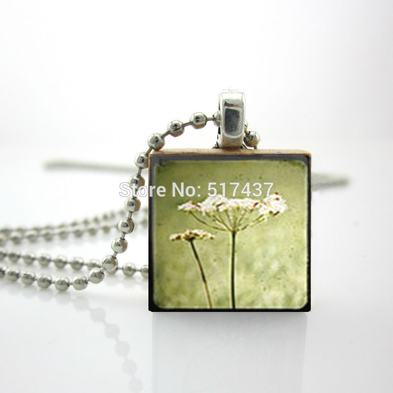 2015 New Flower Jewelry Necklace Scrabble Tile Pendant with Ball Chain Included Silver Scrabble Pendant