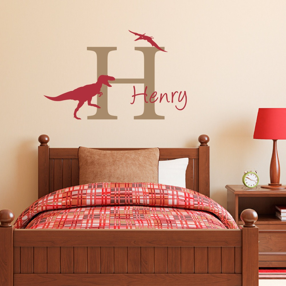 personalized name wall stickers dinosaur wall decal with. Black Bedroom Furniture Sets. Home Design Ideas