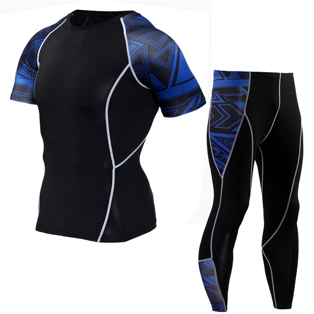 Men's T-Shirt and Tights Set for Yoga and Sports