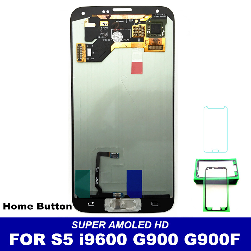LED LCD Touch Digitizer Screen For Samsung Galaxy S5 i9600 G900 Mobile Phone LCDs Full Assembly Replacement White and Black
