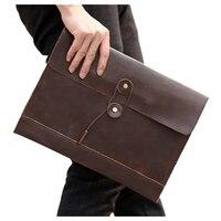 1x coffee PU leather men cross section retro business casual file bag envelope bag briefcase bag holding bag 35x25x2cm