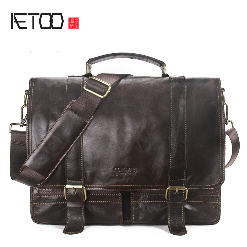 AETOO Men 's Handbag Casual Business Briefcase Portable Computer Bags Kidney Shoulder Messenger Bag vintage crossbody bag military canvas shoulder bags men messenger bag men casual handbag tote business briefcase for computer