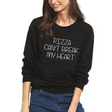 цены на 2019 Casual Women Autumn Hoodies Sudaderas Mujer Hoodies Print PIZZA CAN'T BREAK Letters Sweatshirt в интернет-магазинах