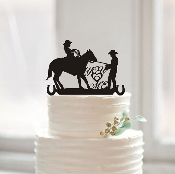 Country Western Wedding Silhouette Cake Topper You & Me Cake Toppers ...