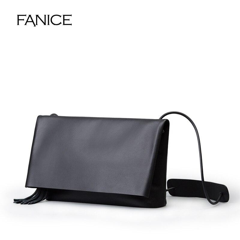 цена FANICE Women Leather Fashion Messenger Bag Tassel Fold Cover Sling Girl Shoulder Crossbody Bag Brand Design Women Envelope bag онлайн в 2017 году
