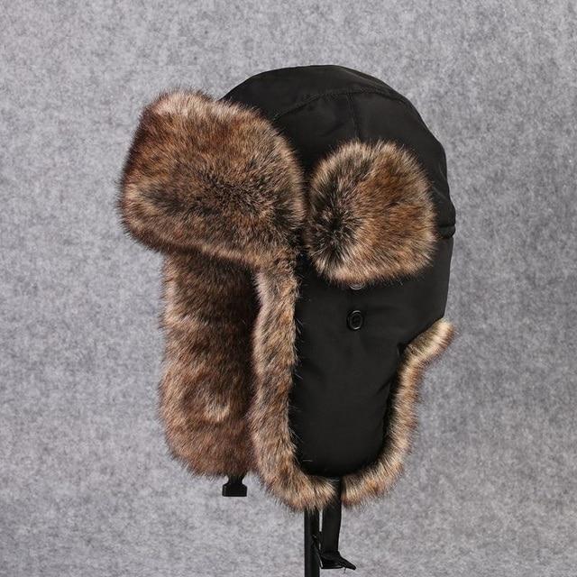 72c852b4025 Unisex Bomber Hats Russian Ushanka Ear Protection Cap Men Women s Faux Fur  Trapper Hat PU Leather Wind Proof Earflap Hat B-8526