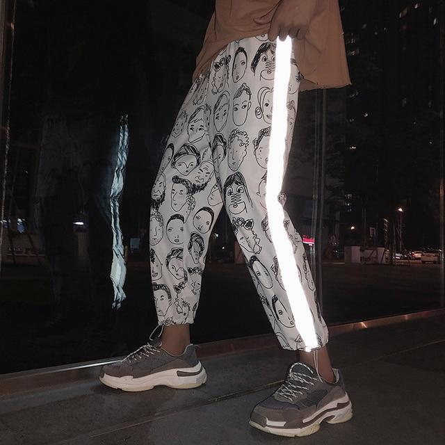 HOUZHOU Reflective Harem Gothic Pants Women Hip Hop Streetwear Ankle Length Trousers Plus Size Mid Loose Pencil Pantalon Female