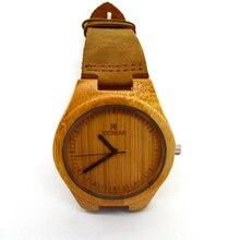 Люксовый бренд дизайн бамбук дерево часы с подлинной кожаные браслеты ремни мужские часы высокого класса мужской relojes