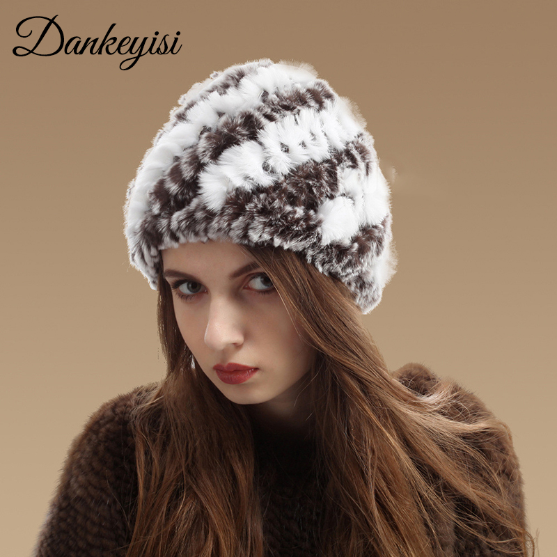 Dankeyisi Genuine Rex Rabbit Fur Women's Hats Winter Beanie Striped Head Top Flower Fur Cap Warm Real Fur Caps Headgear Hat