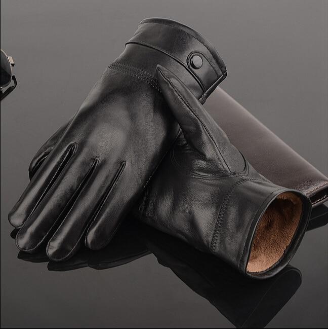 Guantes de piel Harppihop 2017 cuero auténtico cuero negro rojo beige cuero guantes hombres cuero invierno guantes marca hombres