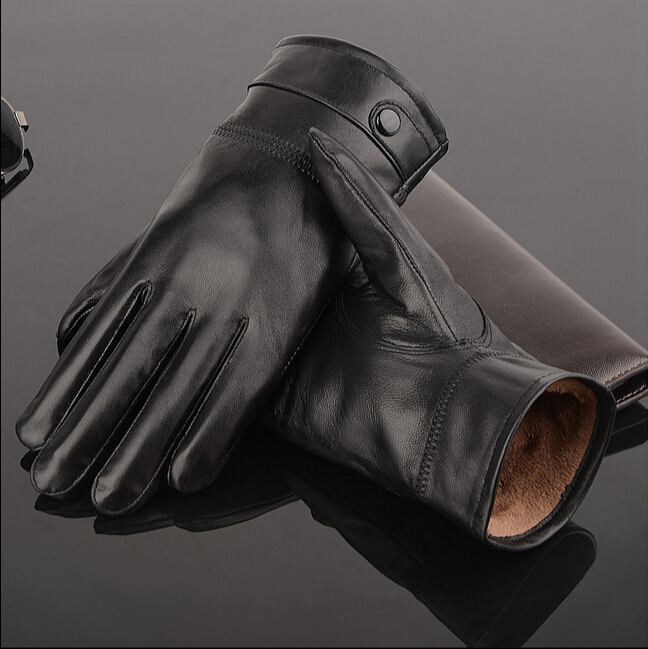 Harppihop Fur 2019 Leather Gloves Genuine Leather Black Red Beige Leather Gloves Men Leather Winter Gloves Brand Men Gloves