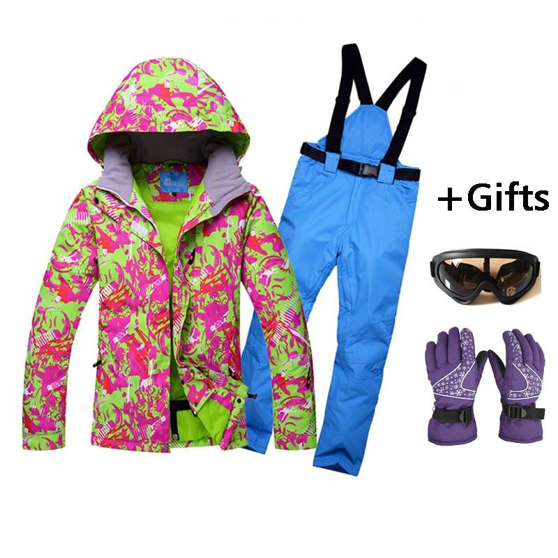 Vestes et pantalons de Ski pour femmes vêtements de protection contre le froid ensembles de Snowboard épais chaud imperméable coupe-vent hiver femme combinaison de Ski