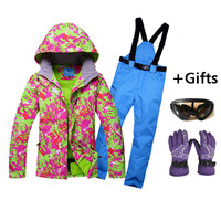 Women cold protective clothes` Skiing Jackets And Pants Snowboard sets Thick Warm Waterproof Windproof Winter female Ski suit