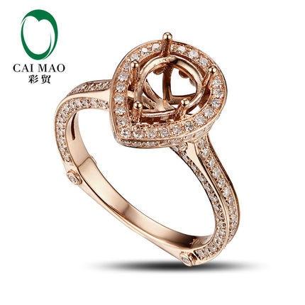 CaiMao Pear cut Semi Mount Ring Settings & 0.8ct Diamond 14k Rose Gold Gemstone Engagement Ring Fine JewelryCaiMao Pear cut Semi Mount Ring Settings & 0.8ct Diamond 14k Rose Gold Gemstone Engagement Ring Fine Jewelry