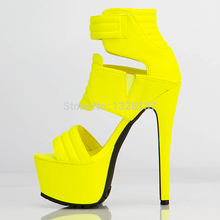 Sexy Club Heels Yellow Suede Pumps Platform Sandals For Women Casual High Heel Shoes  Open Spring Summer Ladies Shoes Size 45